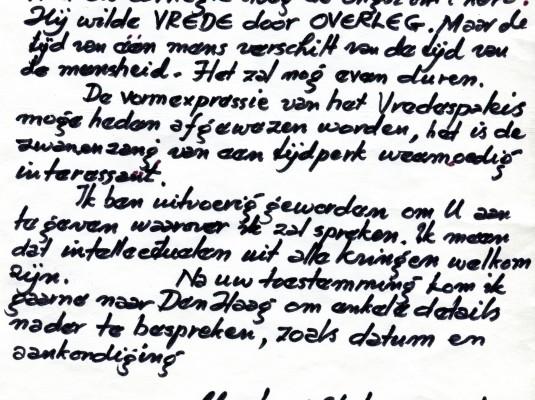 Brief van Wijdeveld, 1969.