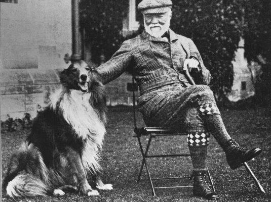 Andrew Carnegie- Skibo Castle met hond
